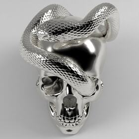 Scull and snake 3D sculpting