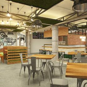 3D cafe interior rendering
