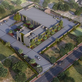 3D aerial rendering of an apartment complex