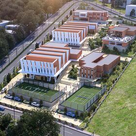 3D aerial rendering of houses