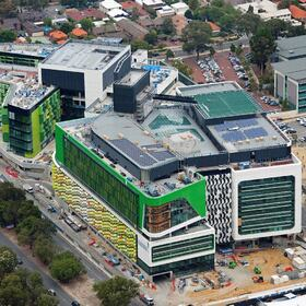3D aerial rendering of a children's hospital