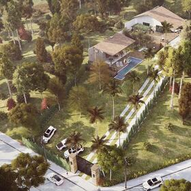3D aerial rendering of a house