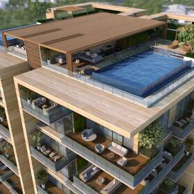 3D architectural rendering of an apartment complex
