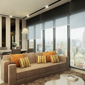 3D architectural rendering of a living room