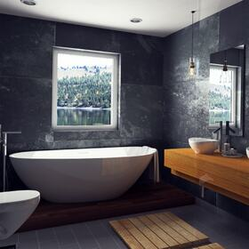 3D architectura rendering of a bathroom