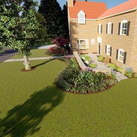 Front yard landscape rendering
