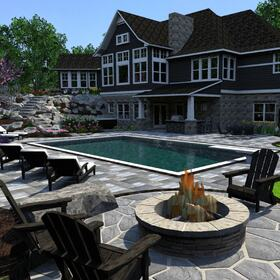 Backyard design rendering
