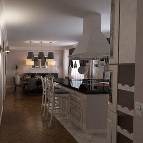 Kitchen residential 3D rendering