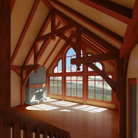 Wooden cabin interior design