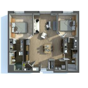 Apartment floor plan rendering