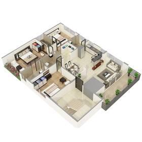 Architectural floor plan rendering