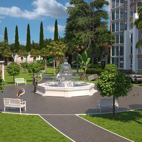Apartment complex landscape design