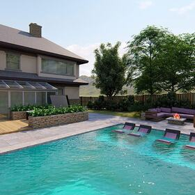 Backyard design with swimming pool