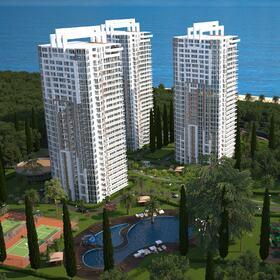 Multi-storey apartment complex rendering