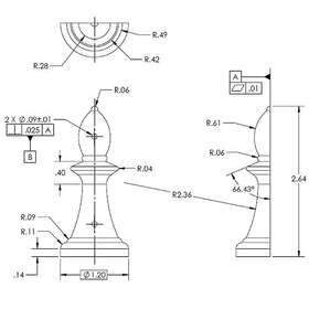 2D CAD chess piece design