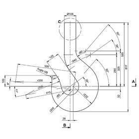 Technical 2D CAD drawing of a crane hook
