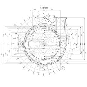 Spiral housing of the centrifugal pump 2D CAD drawing