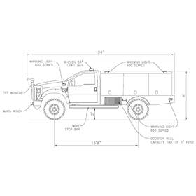 2D CAD fire truck drafting