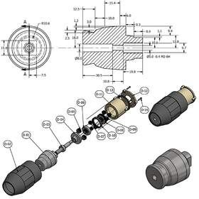 Electric drill 2D to 3D CAD