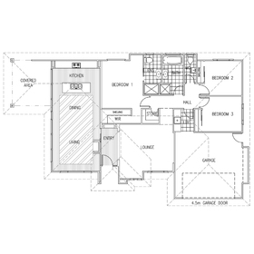 Single-storey house AutoCAD drawing
