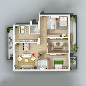 Realistic apartment floor plan rendering